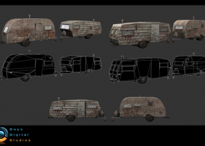 background prop Low poly with Hand painted textures